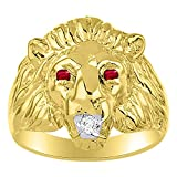 Lion Head Ring set with Genuine Diamond in mouth & Natural Rubies in eyes 14K Yellow Gold Plated over Silver