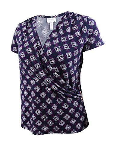 Charter Club Women's Plus Size Printed Faux-Wrap Top (0X, Intrepid Blue Combo)