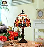 Makenier Vintage Tiffany Style Stained Glass Bedroom Bedside Corner Table Desk Red Dragonfly Small Lamp - 7 Inches Lampshade