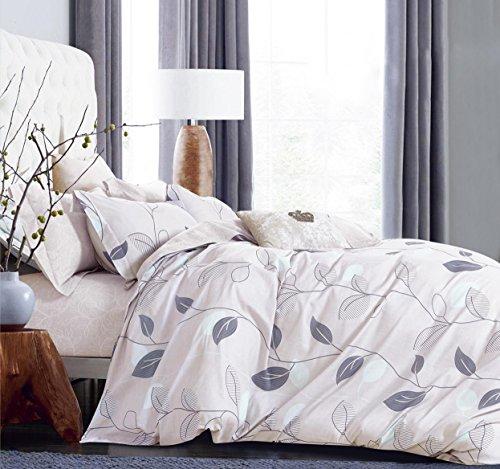 Swanson Beddings Elegant Leaves 3-Piece 100% Cotton Bedding Set: Duvet Cover and Two Pillow Shams (Leaf Queen Duvet)