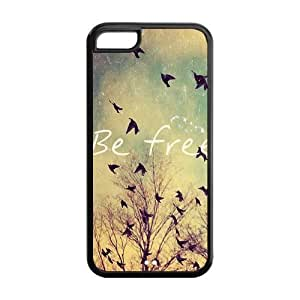 Be Free Birds Quote Protective Rubber Back Fits Cover Case for iPhone 5/5s