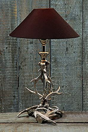 Unusual Table Lamp Metal Antler with Brown Lamp Shade Height 22.05