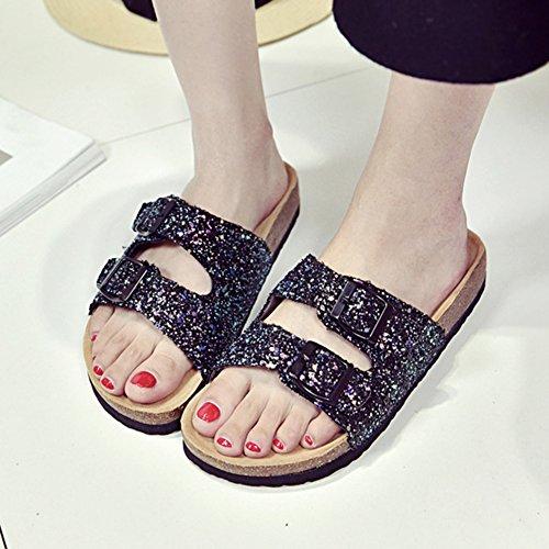 Paillettes Noir Chaussures Femme Chaussures Plage Para Sandales de Mules Sandales 4dp4q