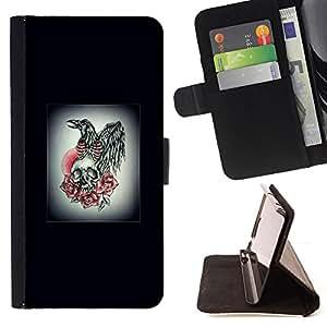 BullDog Case - FOR/LG OPTIMUS L90 / - / WINGS SKULL ROSE WHITE BLACK POSTER /- Monedero de cuero de la PU Llevar cubierta de la caja con el ID Credit Card Slots Flip funda de cuer