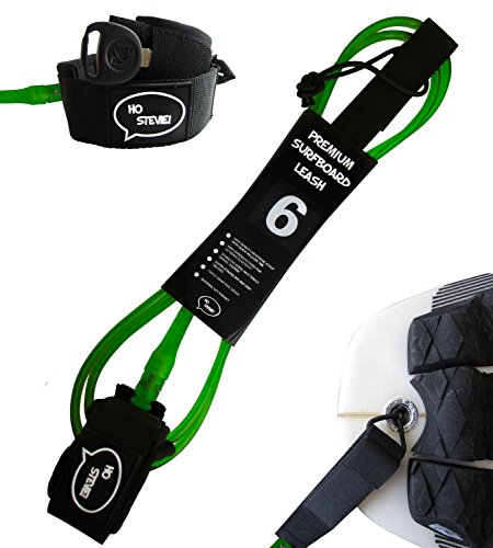 Ho Stevie! Premium Surf Leash [1 Year Warranty] Maximum Strength, Lightweight, Kink-Free, Types of Surfboards. 7mm Thick (1/4) (Green, 5 Feet)