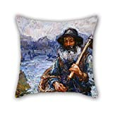 elegancebeauty pillow cases 16 x 16 inches / 40 by 40 cm(2 sides) nice choice for drawing room,chair,kids room,chair,boys,floor oil painting John Peter Russell - Mon ami 'Polite