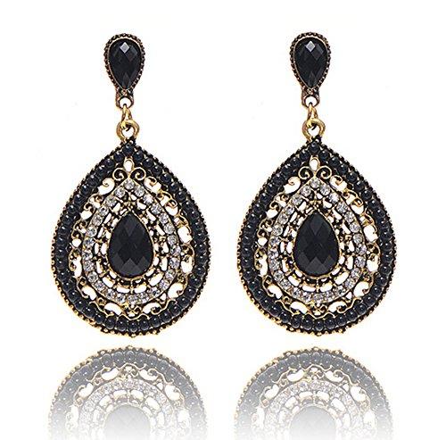choice of all Bohemian Retro Teardrop Shaped Earrings - Vintage Enamel Waterdrop Dangle Earrings for Women Girls (C:Black)
