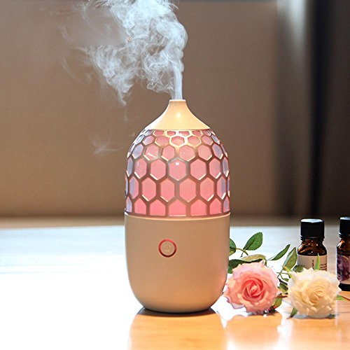 OOFYHOME Humidifier Night Light, Aromatherapy Essence Oil Lamp Portable Mist Ultrasonic Humidifiers, USB Powered and Whisper Quiet for Office Home Car Birthday Gift Valentine's Day Gift