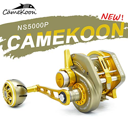 (CAMEKOON NS5000P Series Saltwater Lever Drag Fishing Reel, All Aluminum, 6.3:1 Gear Ratio, 13+2 Shielded Stainless Steel Ball Bearings, Trolling Big Game Fishing Reel (Golden, Right Handed)