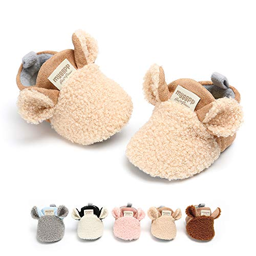 SOFMUO Baby Girls Boys Fleece Booties - Cotton Lining Soft Suede Non-Slip Toddler First Walker Shoes Winter Socks(Khaki,0-6 Months)
