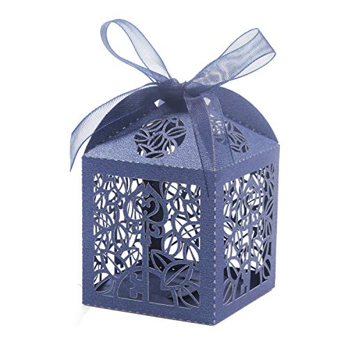 KPOSIYA 100 Pack Party Favor Boxes, Key Deign Laser Cut Boxes Wedding Favor Boxes Gift Candy Box with Ribbons for Baby Shower Favors Bridal Shower Birthday Party Wedding Decorations (Navy Blue, 100)