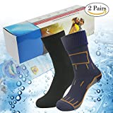 [SGS Certified] RANDY SUN Unisex Waterproof & Breathable Hiking/Trekking/Ski Socks, 02 Pairs-Navy Blue&Black-With Gift Box, Medium