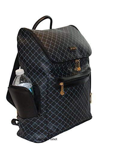 Rioni Top Loading Cambridge Travel Daypack Backpack Unisex - Signature Black by Rioni