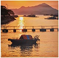 WindowPix 12x12 Inch Decorative Static Cling Window Film Paddle Boat By River Sunset . Printed on Clear for Window Glass panels. UV protection, Energy Saving.