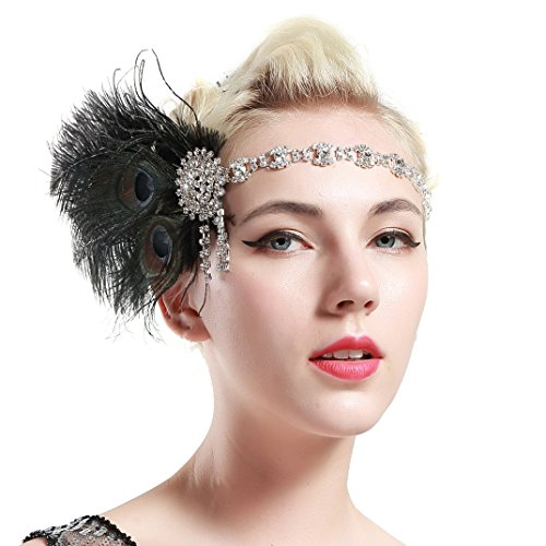 Peacock Flapper Headband (BABEYOND 1920s Flapper Headband Roaring 20s Headpiece Gatsby Peacock Feather Headpiece with Crystal)