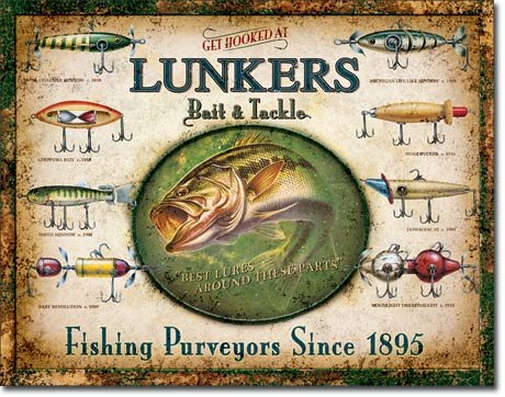 Welcome Bass Fishing Vintage Decorative Fishing Tin Sign Bundle Heddon Frogs Lunkers Lures Bait and Tackle Fishermans Rules Fisherman/'s Rules DE Sign