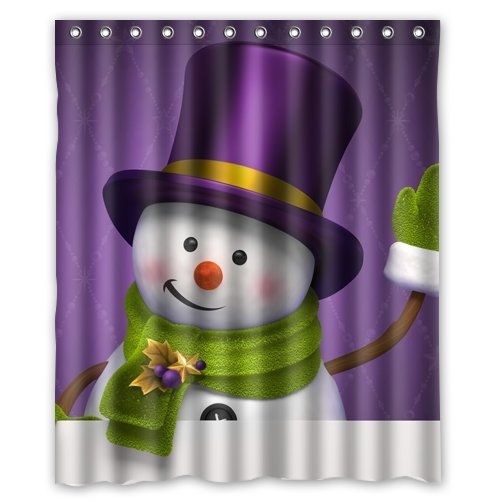 Christmas Cute Purple Hat Snowman Custom Shower Curtain