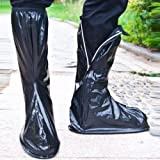 Male female Frosted Tall PVC Waterproof rain shoes Non-slip shoe covers Protective Safety Boots (M, Black)