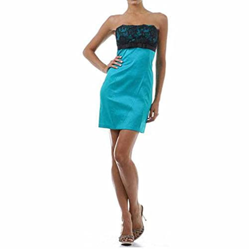 Luxury Divas Turquoise Strapless Lace Top Cocktail Dress