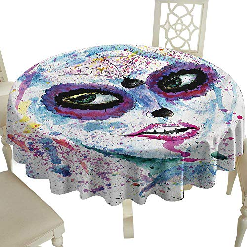 Round Outdoor Round Tablecloth 54 Inch Girls,Grunge Halloween Lady with Sugar Skull Make Up Creepy Dead Face Gothic Woman Artsy,Blue Purple Suitable for Home Coffee Bar,Party,Wedding,& More]()