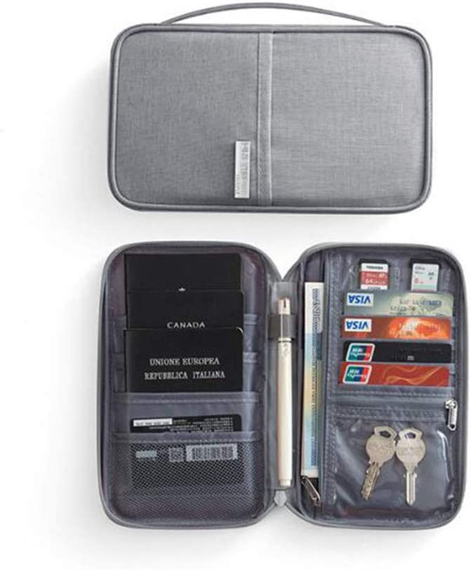Porte-Documents Organisateur de Passeport Porte-Documents Cartes RFID Billets Pochette Portefeuille Family Travel 3 Couleurs en Option Gris Orange Noir Gris S