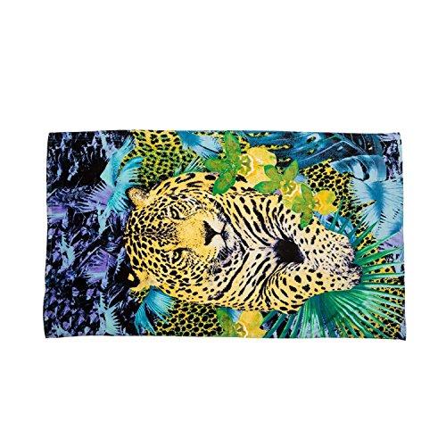 Just Cavalli Blue & Yellow Animal Print Leopard 100% Cotton Large Beach Resort Pool Towel 71 x 39 Lightweight ()
