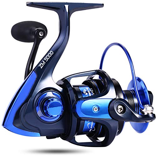 trout boy Spinning Fishing Reel -Unique Main Body, T6 Doluble Anodized Aluminum Spool,13+1 Double Shielded Stainless Steel Ball Bearings, Free Spare Graphite Spool (ZM-3000)