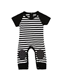 Newborn Baby Boy Striped Romper Outfits Short Sleeve Summer Bodysuit
