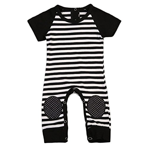 Newborn Baby Boy Striped Romper Outfits Short Sleeve Summer Bodysuit (6-12M, Black)