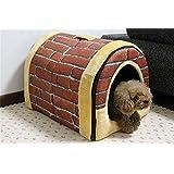 Kennel Pet Nest Washable Cat Litter Nest Two Uses (L(58x45x43cm), Brick)
