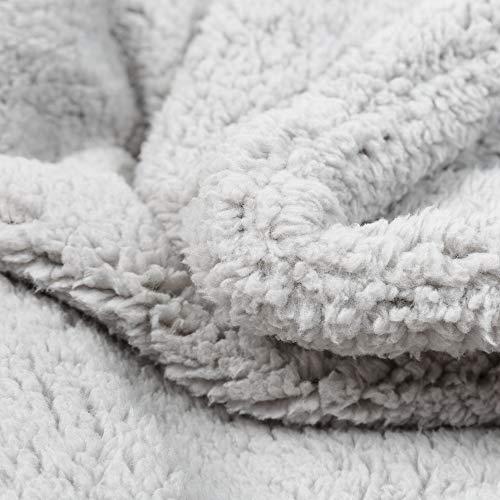 Allisandro [Upgrade Double Layer] Pet Premium Throw Blanket for Dog Cat Puppy Kitten Super Soft Fleece Velvet Four Color Three Size 39'' X 31'' Light Grey by Allisandro (Image #2)