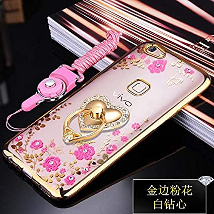 uk availability c5271 71876 Loxxo® Back Cover for Vivo Y83 Bling Shiny Diamond Rhinestone with 360  Degree Rotating Heart Ring Stand TPU Case Cover for Vivo Y83