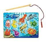 Melissa & Doug Magnetic Wooden Fishing Game (10 Wooden Ocean Animal Magnets, 1 Fishing Pole)