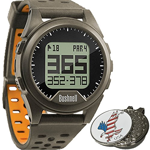 Bushnell Neo Ion Golf GPS Sports Watch, Charcoal, Comes with a Custom Ball Marker Hat Clip Set (American Eagle) (Bushnell Neo Gps Watch)