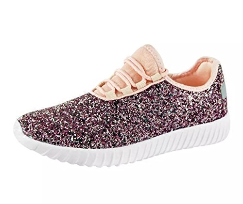Forever Link Remy-18k Kids Todddler Girls Fashion Sneaker Glitter Flat Lace Up Shoes (3, Pink)