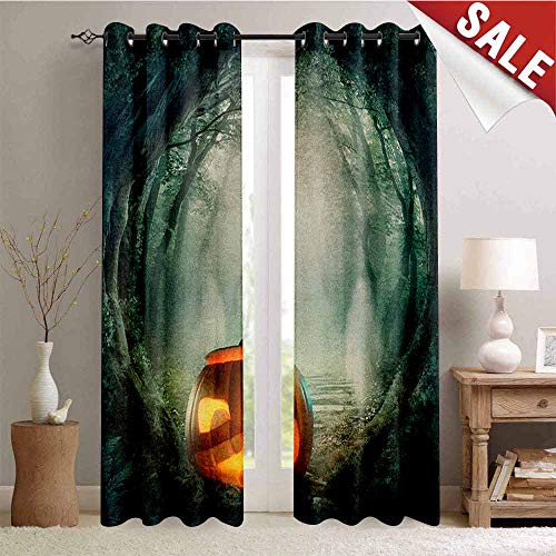 Flyerer Halloween, Window Curtain Drape, Drawing of Scary Halloween Pumpkin Enchanted Forest Mystic Twilight Party Art, Customized Curtains, W84 x L108 Inch Orange Teal ()