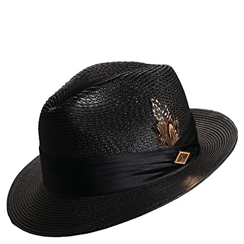 STACY ADAMS Men's Vent Paper Milan Pinch Front Hat,Black,XL ()