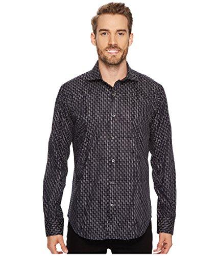 BUGATCHI Men's Cotton Slim Fit Spread Collar Woven, Black, Medium by Bugatchi