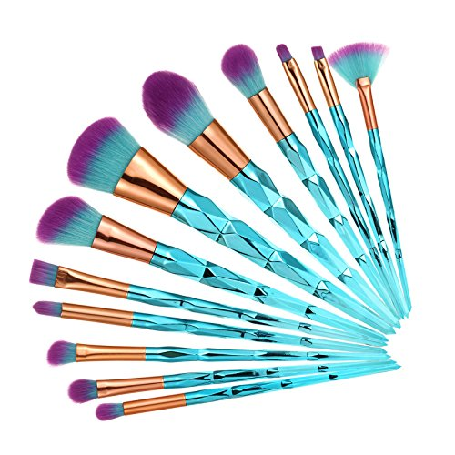 DRQ 12pcs Makeup Brush Set Colorful Diamond Shaped Handle Premium Synthetic Kabuki Foundation Blending Blush Eye Face Liquid Powder Cream Cosmetics Lip Brush Tool Professional Brushes Kit with Pouch