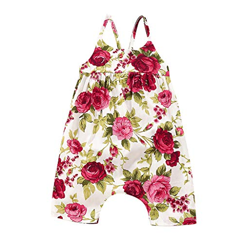 Huifa Infant Girls Summer Jumpsuit Clothes Baby Floral Print Vest Backless Romper (Red,0-6 Months/70)