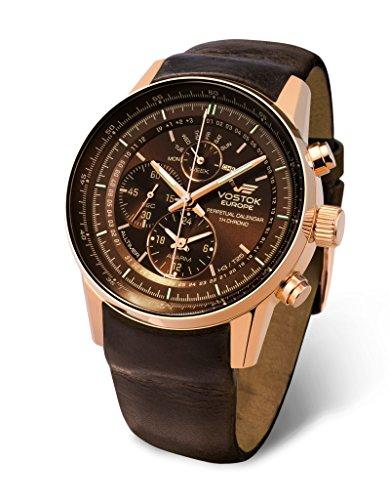 (Vostok Europe Gaz Limo All-Timer Perpetual Calendar Chrono Men's Alarm Watch Rose Gold Brown YM86/565B288)