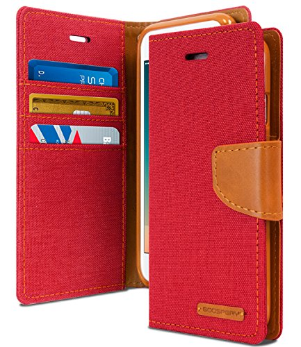 iPhone 8 Case & iPhone 7 Case, [Drop Protection] GOOSPERY Canvas Diary [Denim Material] Wallet Case [ID Card Cash Slot] Stand Flip Cover TPU Casing for Apple iPhone 8 & 7 (Red & Brown) IP7-CAN-RED (Best Iphone 7 Cases For Drop Protection)