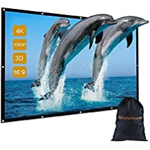 """120 inch Indoor Outdoor Movie Projector Screen with Bag, GBTIGER 120"""" 16:9 Portable Folding Outdoor Movie Screen for Home Cinema Theater Presentation Education Outdoor Indoor Public Display etc."""