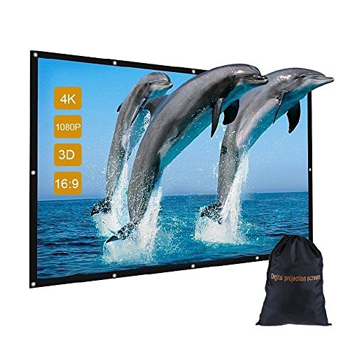 120 inch Portable Projector Screen with Bag, GBTIGER 120″ 16:9 4K HD Foldable Indoor Outdoor Movie Screen Home Cinema Theater Party, Support Double-Sided Projection