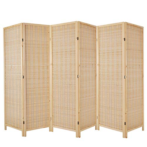 Cocosica Bamboo Room Divider, Folding Privacy Screen with Double Hinge & 6 Panel Room Screen Divider Separator for Decorating Bedding, Dining, Study and Sitting Room(Nature Bamboo