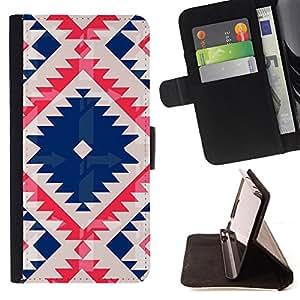 """For Samsung Galaxy S6 Active G890A,S-type Nativo tribal del modelo acolchado azul"""" - Dibujo PU billetera de cuero Funda Case Caso de la piel de la bolsa protectora"""