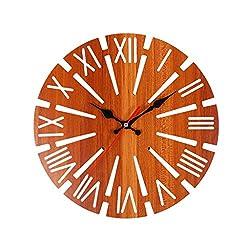 CZYCO 3D Round Hollow Wooden Wall Clock Decorative Clock Numerals Quartz Clock