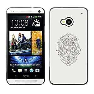 Shell-Star Arte & diseño plástico duro Fundas Cover Cubre Hard Case Cover para HTC One M7 ( Native American Viking Pattern Wolf )
