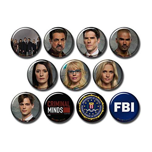 Criminal Minds 11 pcs Button Pins Set Pack TV Series 271-P003 Penelope Garcia Dr Spencer Reid,Party Favors Supplies Gifts Home Decor (Round 1.5 inch|3.7cm)