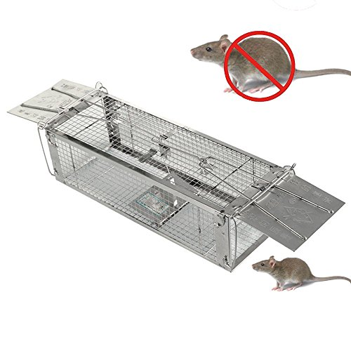 Flywow Easy Set Two- Door Humane Live Animal Cage ,Rat Cage Trap,Mouse Catcher for For Mouse, Rat, Hamster,Mole,Weasel,Gopher and More Small Rodents (425x150x120mm)
